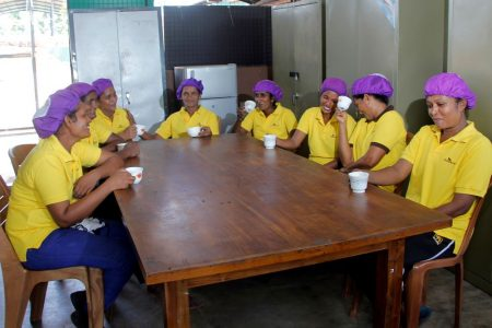 Workers having tea